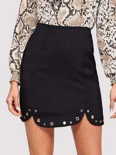Grommet Curved Hem Solid Cord Skirt