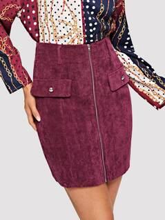 Zip Up Corduroy Skirt