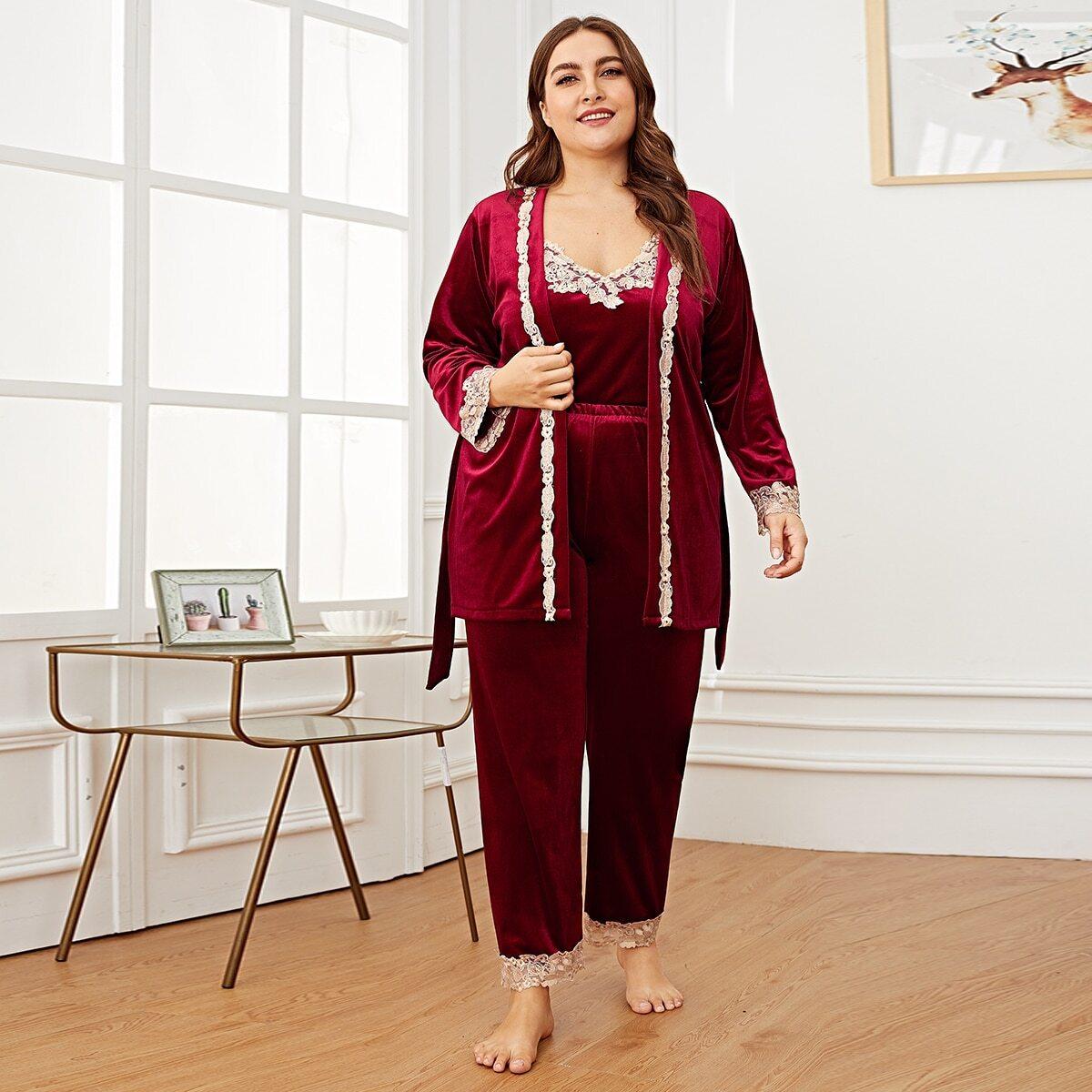 Plus contrasterende kanten fluwelen Cami PJ-set met gewaad