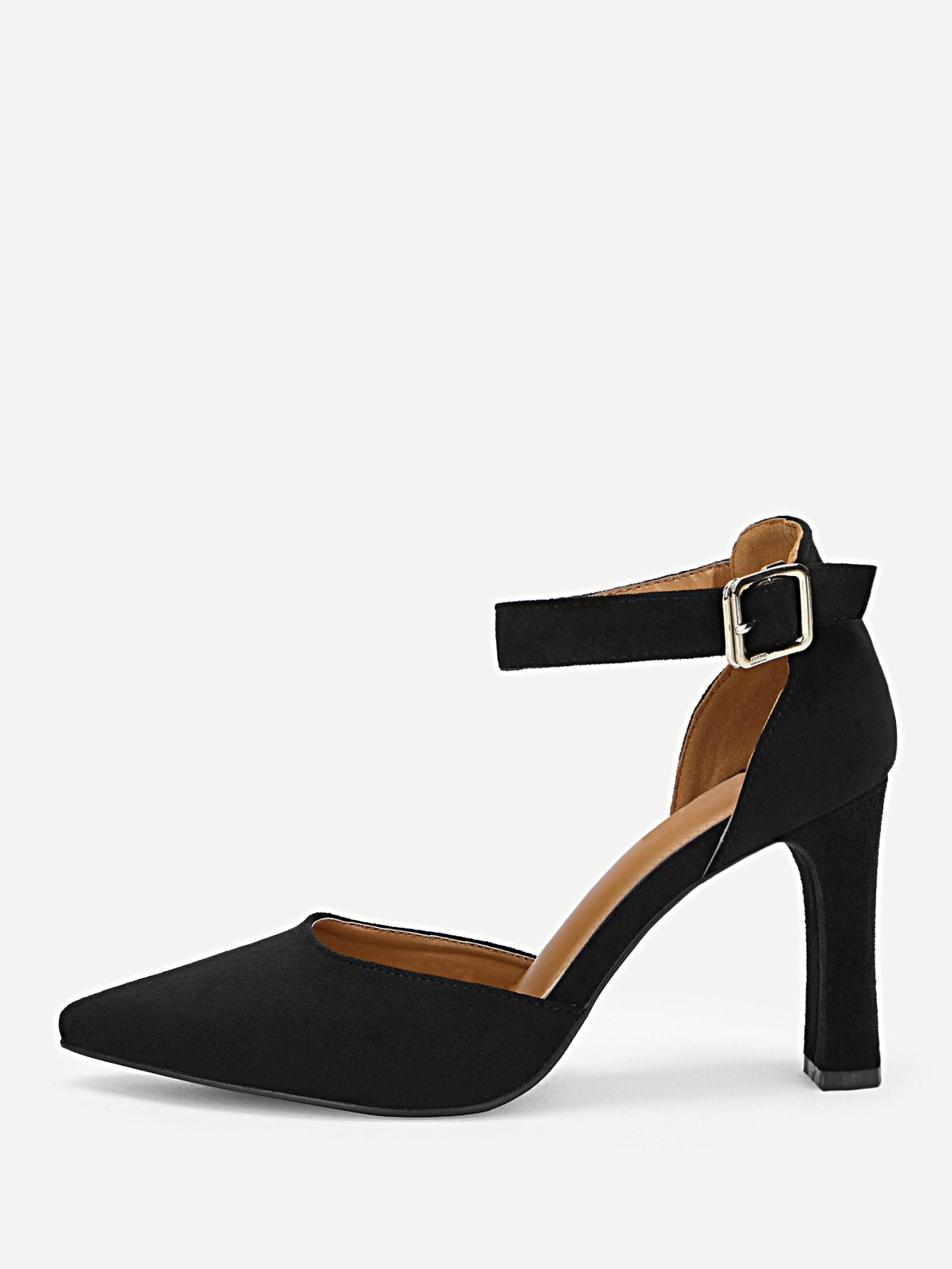 Сапоги на высоких каблуках с открытым носким и лентой лодыжки, null, SheIn  - купить со скидкой