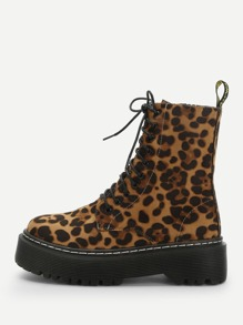Multicolor Comfort Leopard Combat Boots Winter Boots, size features are:Bust: ,Length: ,Sleeve Length: