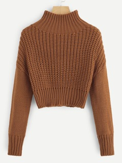 Mock-neck Drop Shoulder Crop Jumper