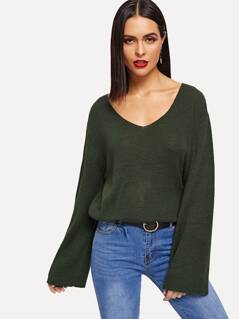 Bell Sleeve Solid Jumper