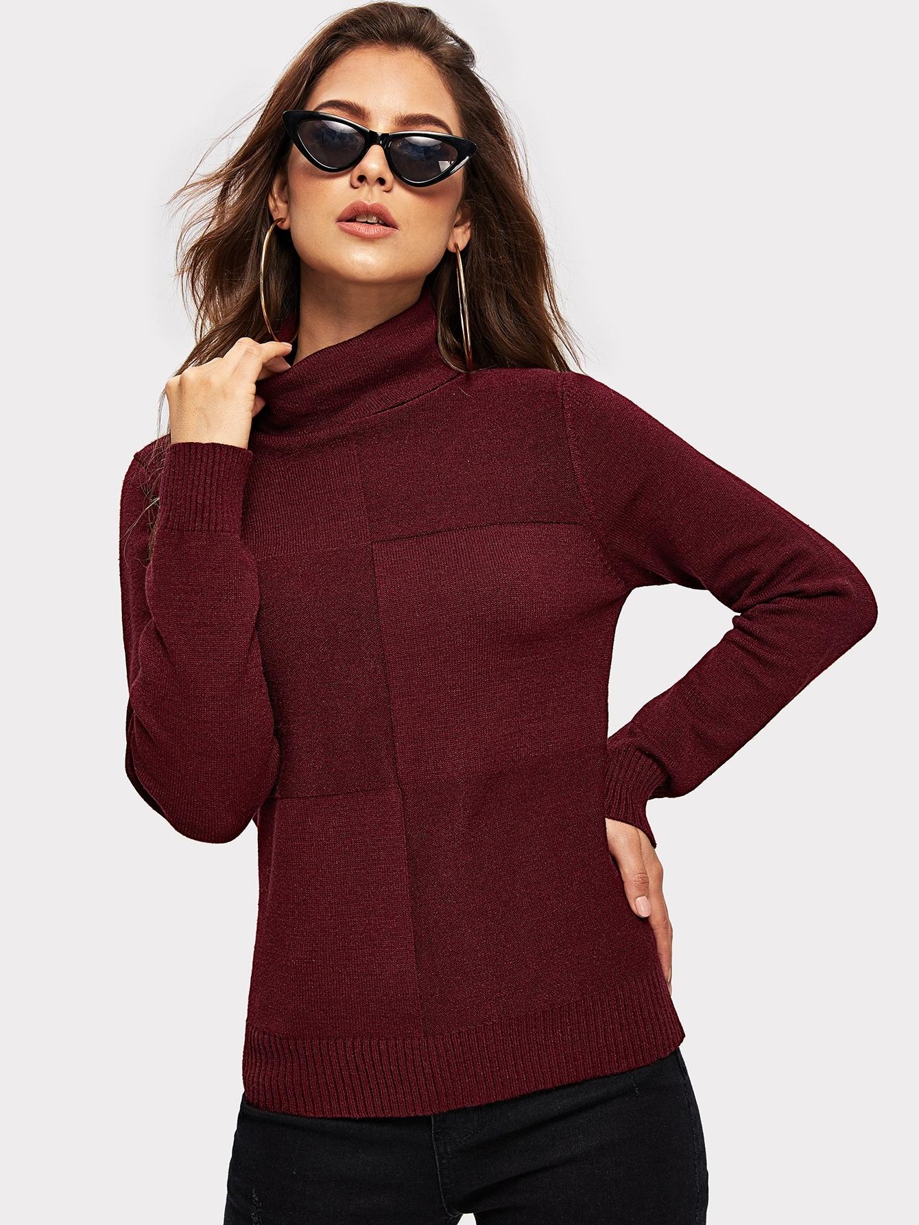 Купить Контрастный свитер с высоким вырезом, Debi Cruz, SheIn