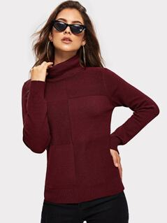 Turtle Neck Cut-and-sew Jumper