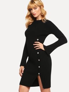 Split Cuff Button Front Rib Knit Sweater Dress