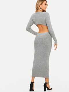 Open Back Heather Grey Bodycon Sweater Dress