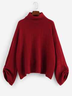 Turtle Neck Rolled Tab Sleeve Sweater