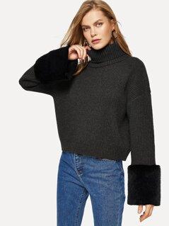 Turtle Neck Faux Fur Sweater