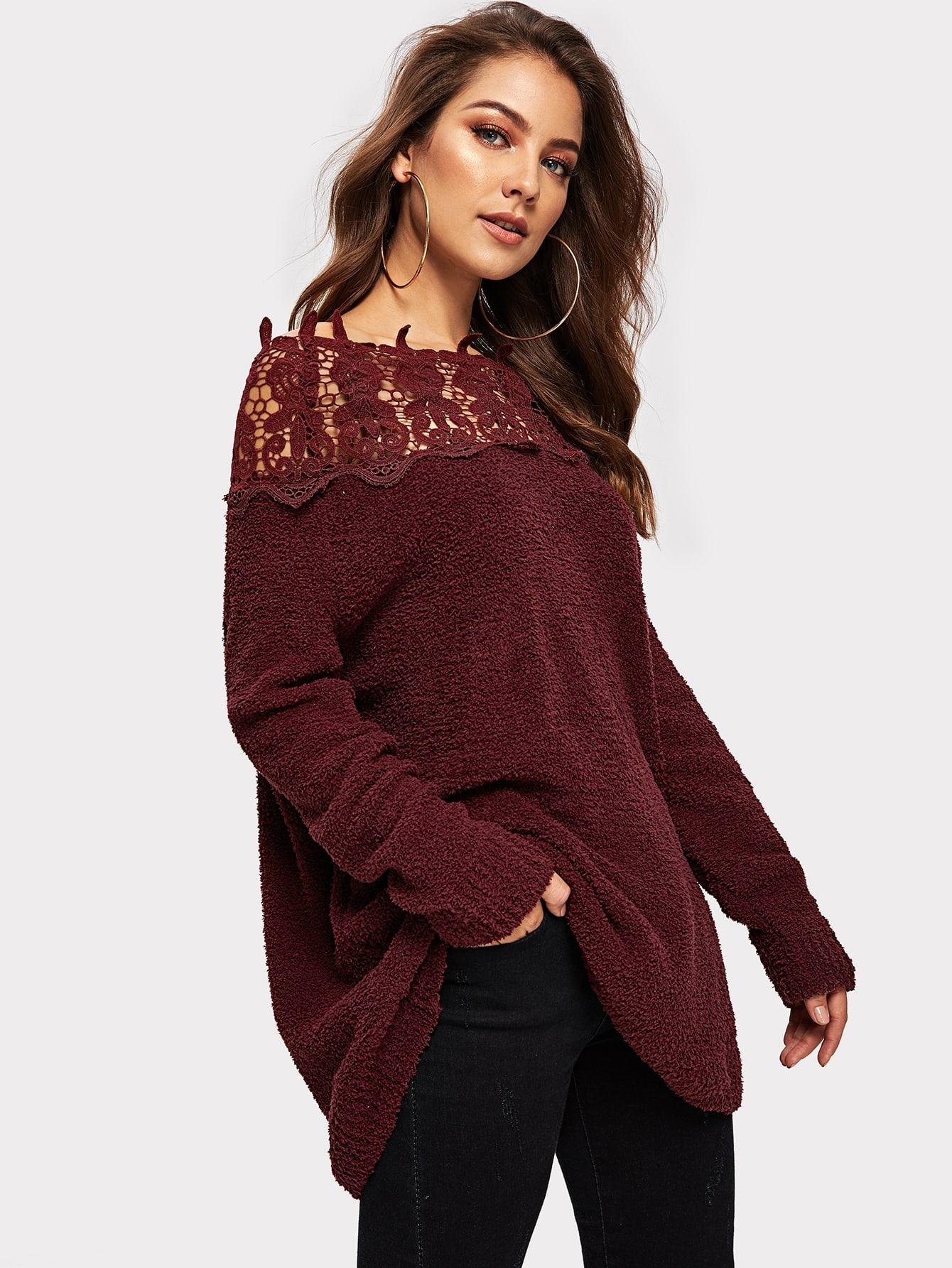 Купить Кружевной пушистый свитер, Debi Cruz, SheIn