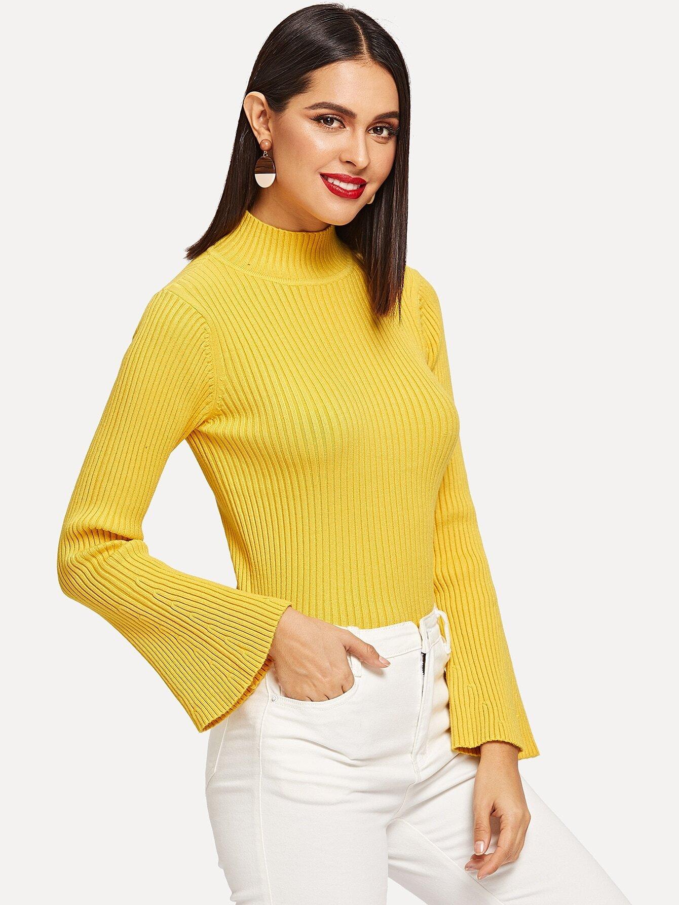 Купить Вязаный свитер с оригинальным рукавом и стоячим вырезом, Verob, SheIn