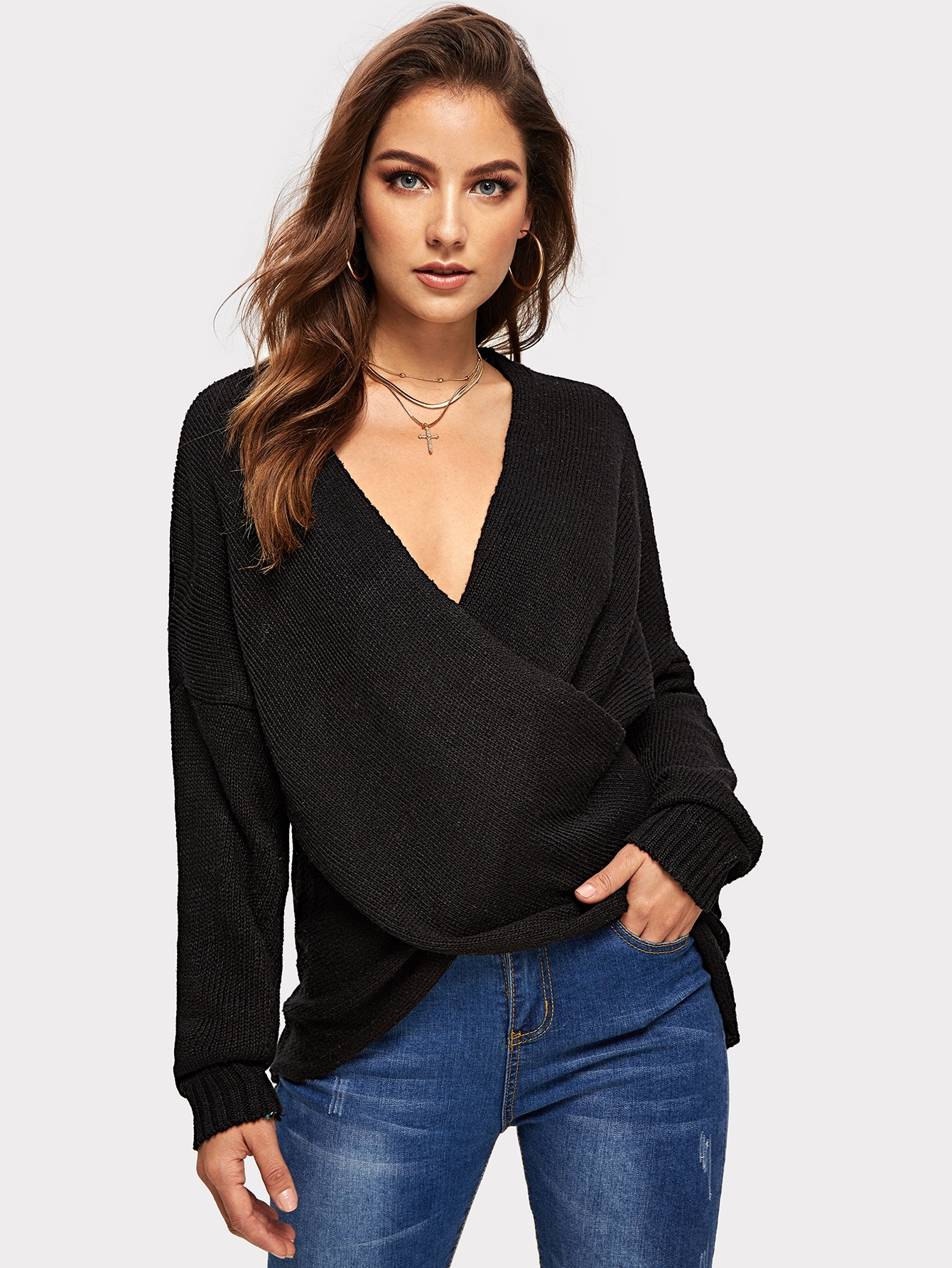 Купить Однотонный свитер с глубоким вырезом, Debi Cruz, SheIn