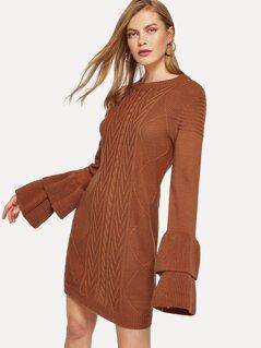 Layered Flounce Sleeve Mixed Knit Sweater Dress