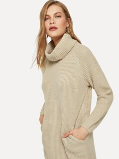 Raglan Sleeve Pocket Front Longline Sweater
