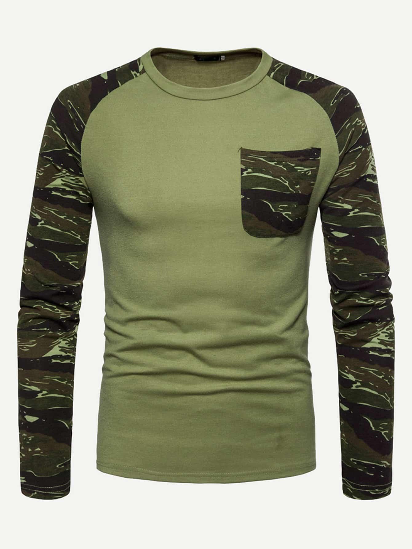 Купить Камуфляж Карман Зелёный Мужские футболки, null, SheIn