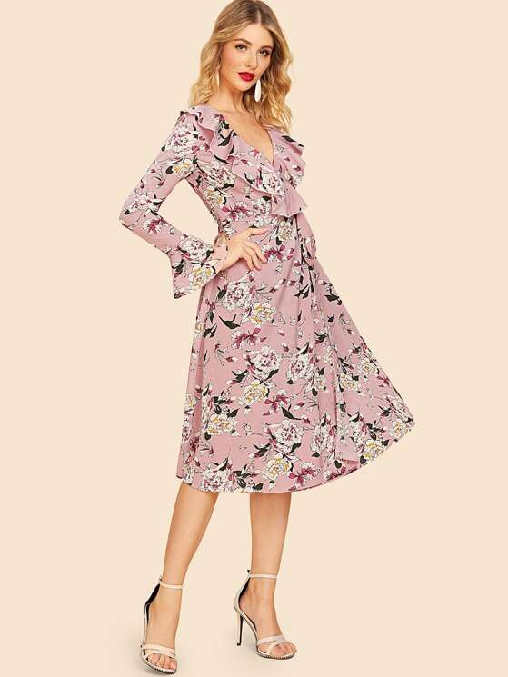 a3a1c49672 80s Knot Side Ruffle Trim Floral Dress