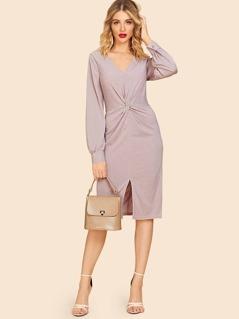 80s Twist Detail Slit Hem Dress