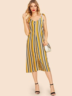 80s Vertical-stripe Knot Cami Dress