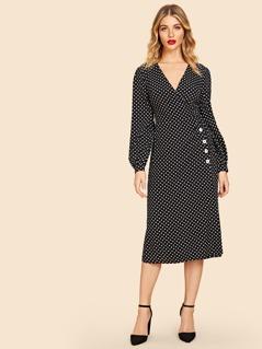 80s Button Detail Polka Dot Dress