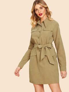 80s Self Belted Buttoned Shirt Dress