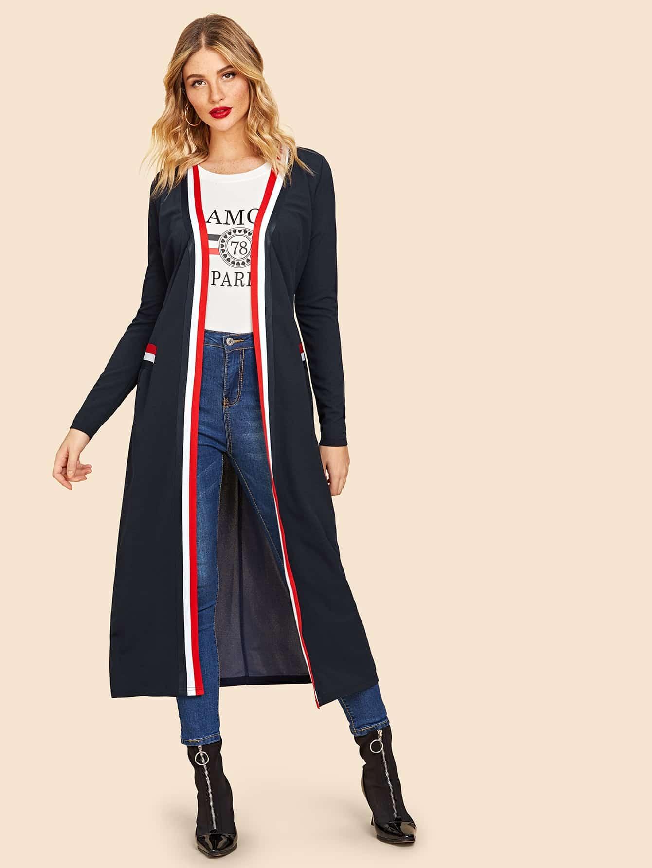 Купить 80s Открытое пальто с полосатой отделкой, Juliana, SheIn