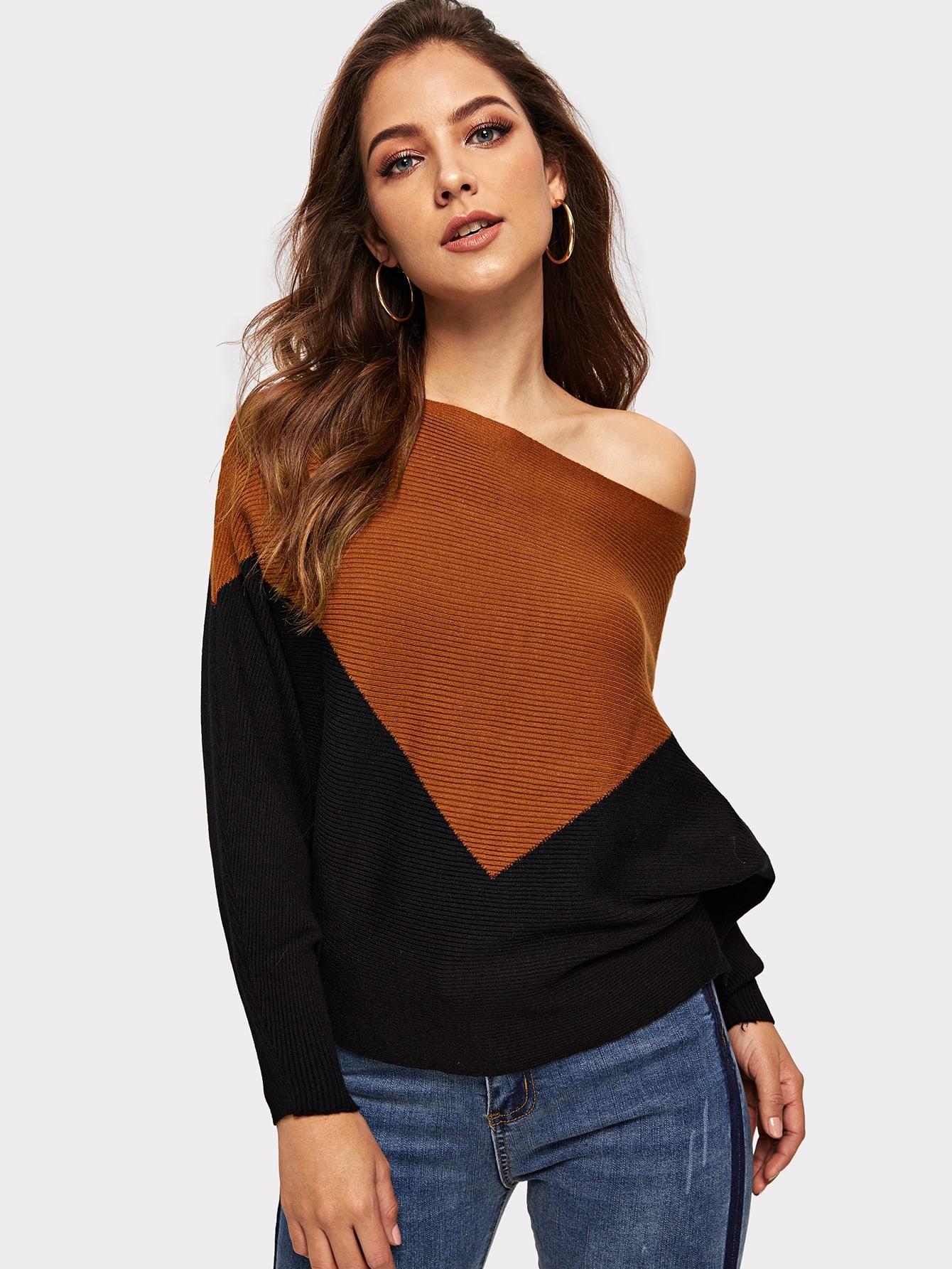 Купить Двухцветный свитер с оригинальным рукавом, Debi Cruz, SheIn