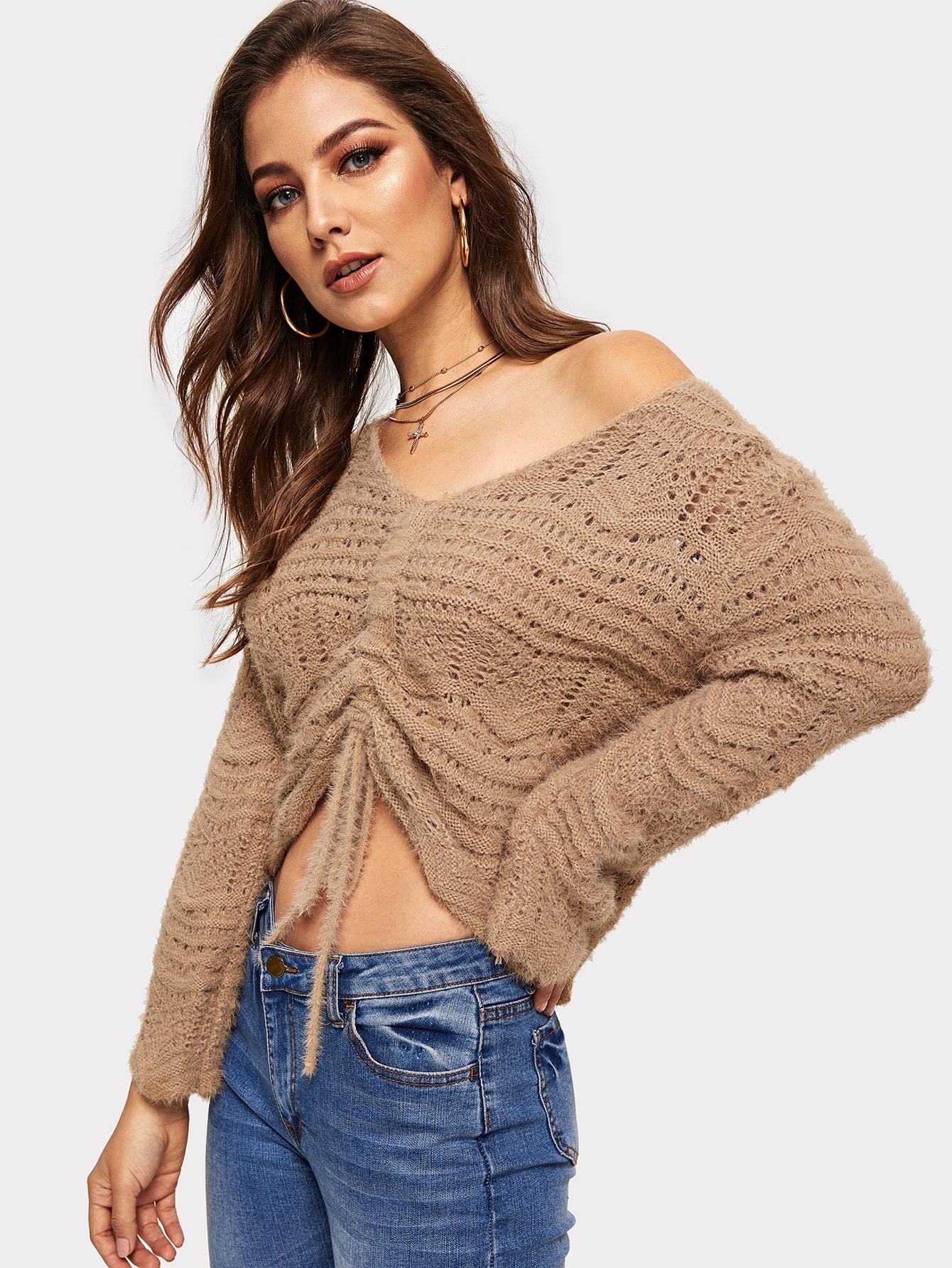 Короткий крупной вязки свитер с кулисой, Debi Cruz, SheIn  - купить со скидкой