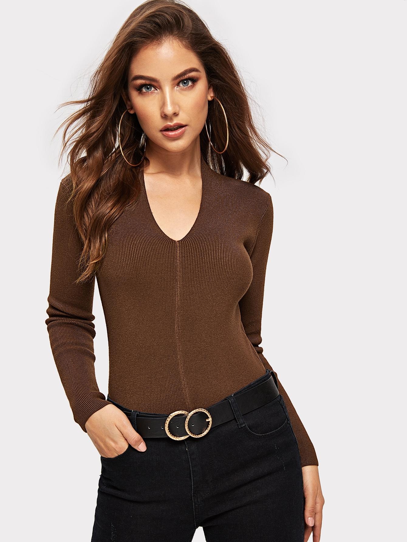 Купить Приталенный однотонный свитер, Debi Cruz, SheIn