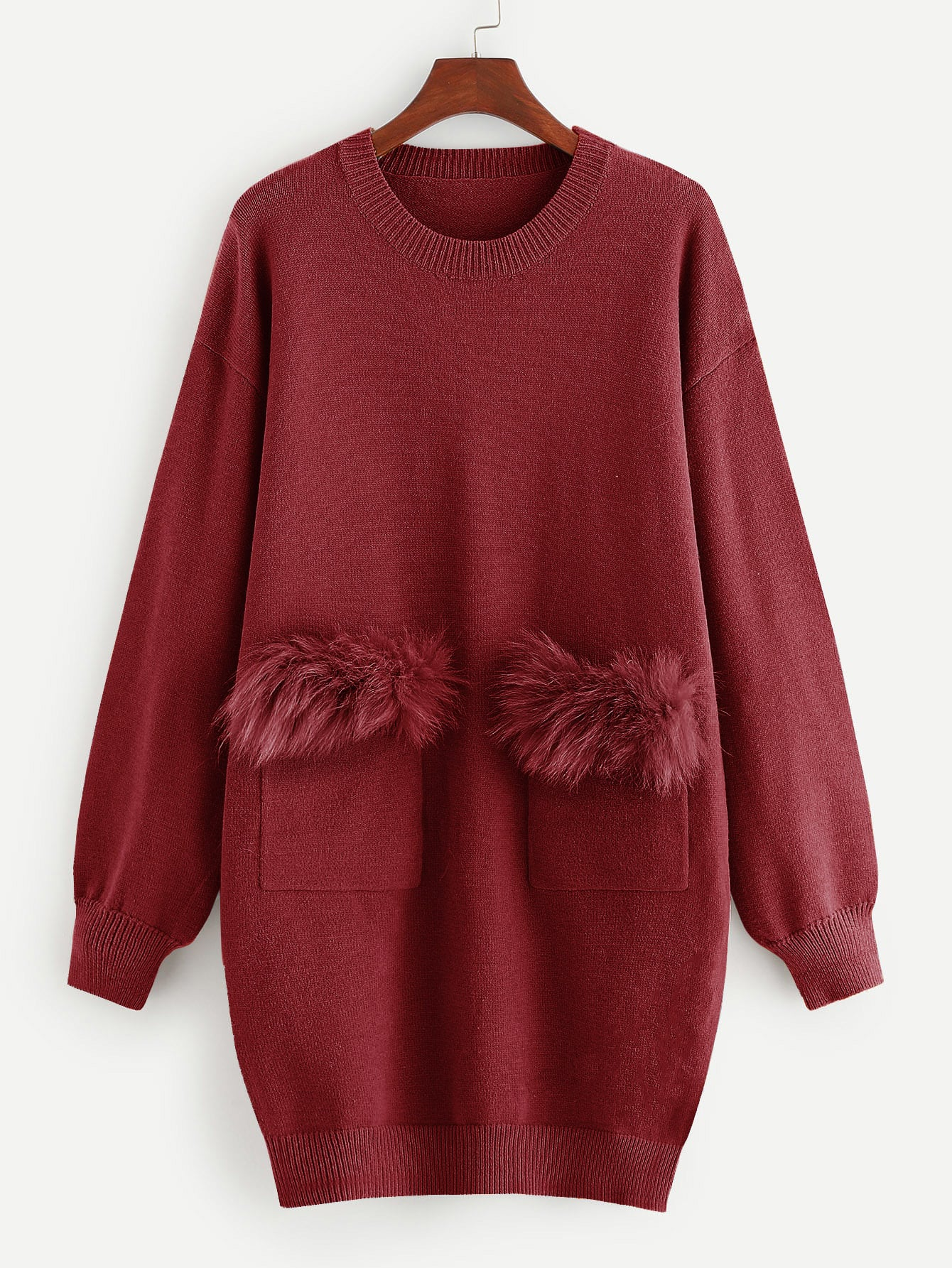 Купить Вязяное платье с заплатой из искусственных мехах, null, SheIn