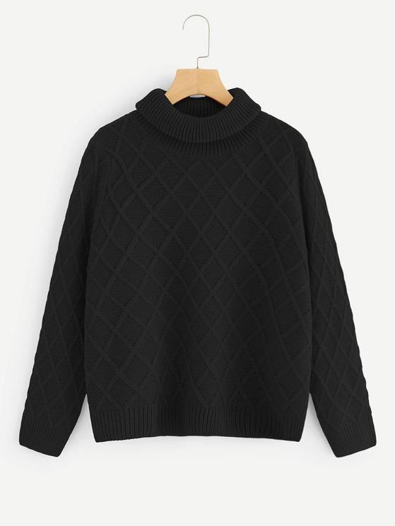 ff8cf51651c14 Rolled Neck Argyle Pattern Sweater