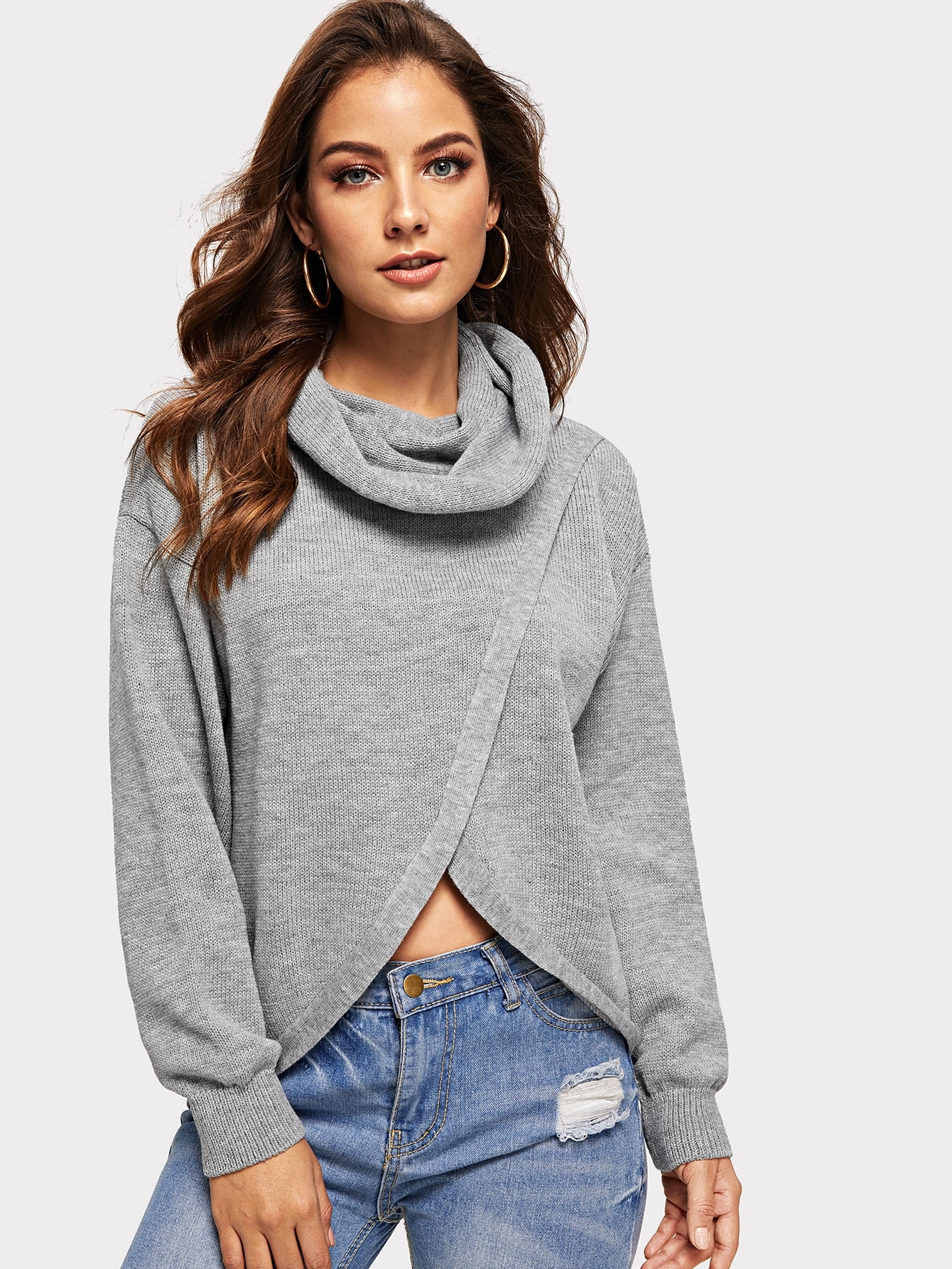 Купить Перекрой пепельный вязяный свитер, Debi Cruz, SheIn
