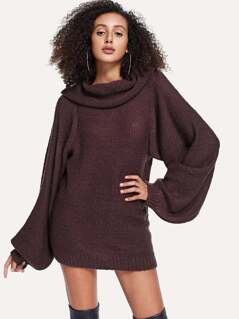 Exaggerated Sleeve Solid Longline Sweater