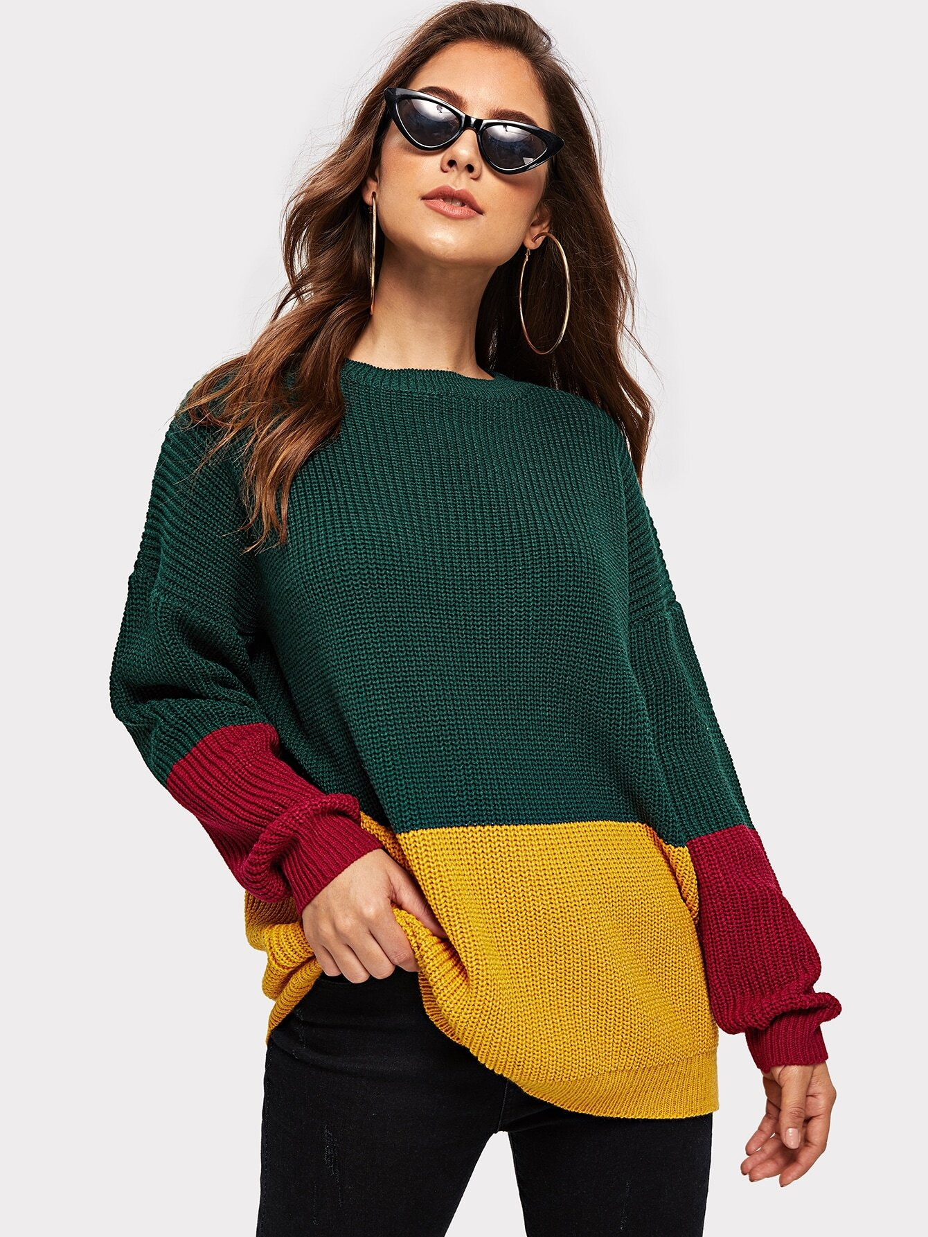 Купить Контрастный свитер с заниженной линией плеч, Debi Cruz, SheIn
