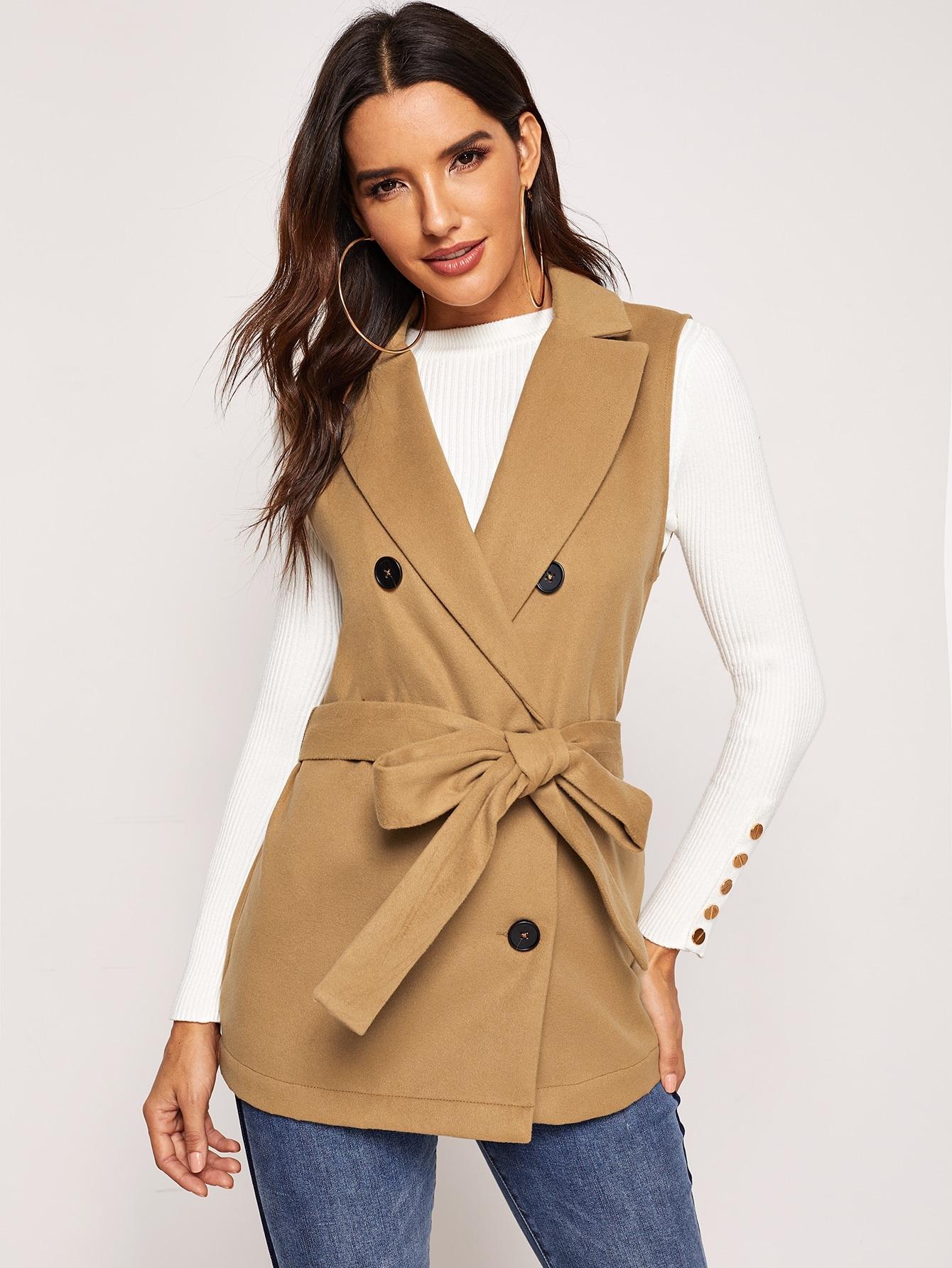 Купить Двубортный пиджак с завязкой на талии, Juliana, SheIn