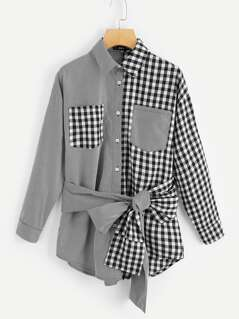Two Tone Belted Shirt