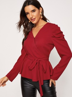Surplice Neck Gathered Sleeve Belted Top