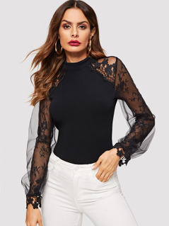 Lace and Mesh Two Layer Bishop Sleeve Top