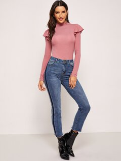 Ruffle Detail Mock-Neck Bodysuit