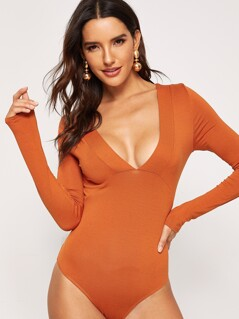 Deep V-Neck Long Sleeve Bodysuit