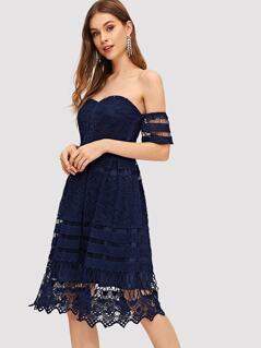 Off Shoulder Lace Solid Dress