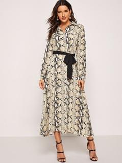 Waist Belted Snake Skin Collar Dress