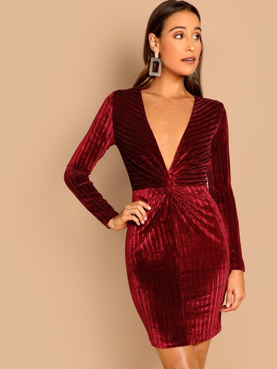 933c2a24d8143 Twist Front Plunge Velvet Rib Bodycon Dress | MakeMeChic.COM