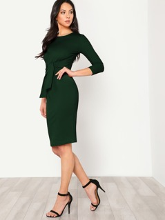 Button Keyhole Back Self Tie Pencil Dress