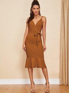 Pephem Belted Surplice Cami Dress