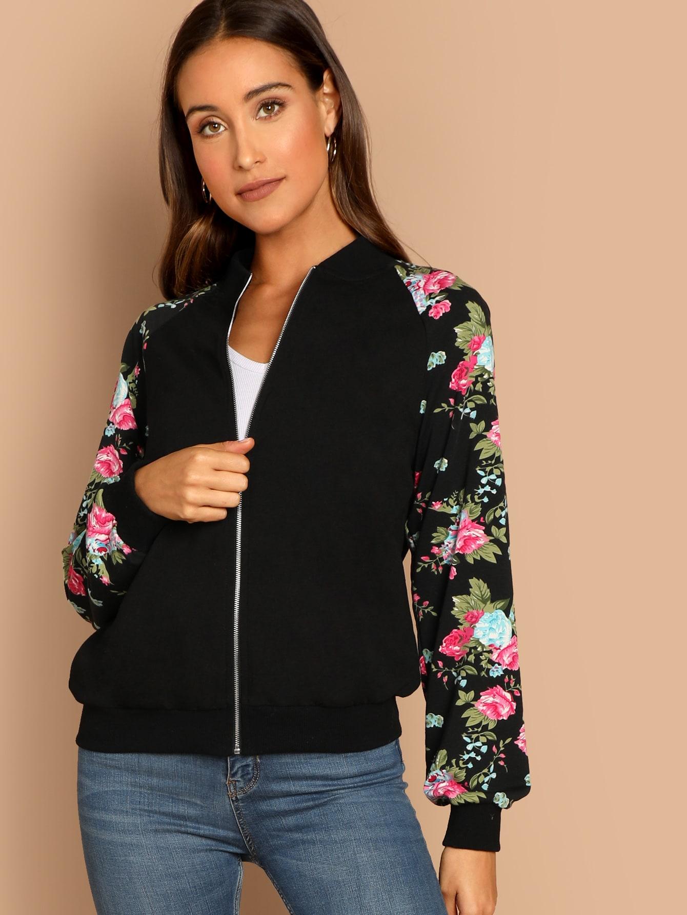 Купить Куртка на молнии с цветочным рукавом, Anna Herrin, SheIn