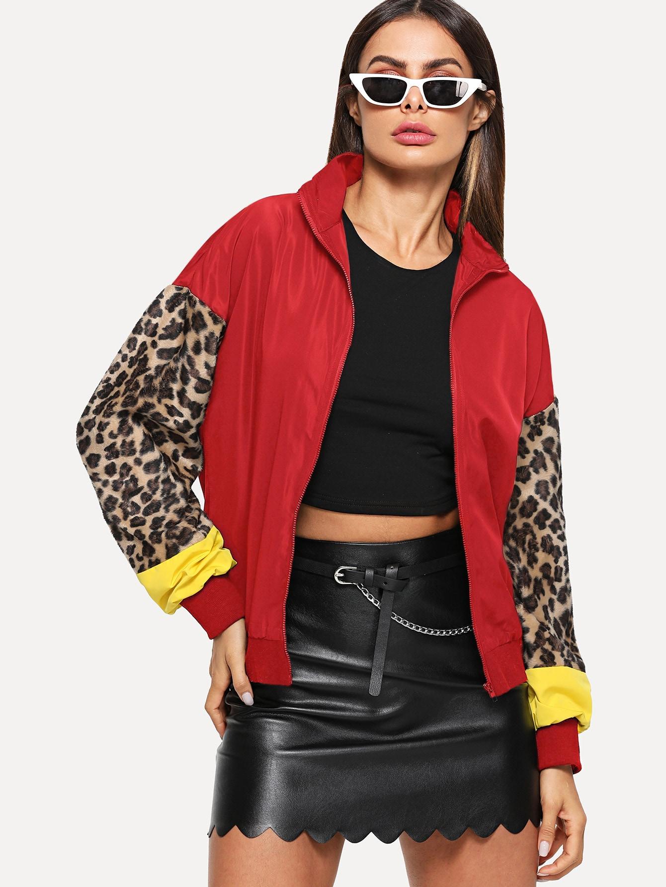 Купить Куртка на молнии с леопардовым рукавом, Andy, SheIn