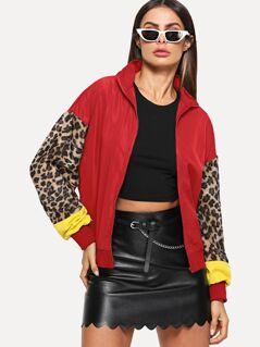 Zip Up Contrast Leopard Sleeve Jacket