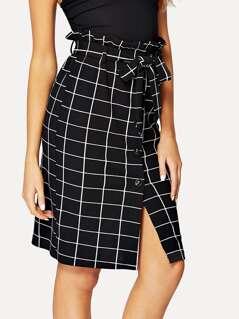Ruffle Tie Waist Grid Print Skirt