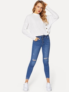Button Front Drop Shoulder Rib-knit Tee