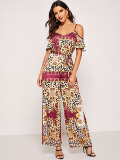 Waist Belted Scarf Print Cami Jumpsuit